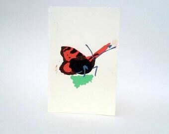 "Handmade Print Butterfly (Tortoiseshell) card (4""x6"")"