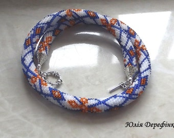 """Bead crochet rope beaded necklace """"Fall colors"""""""