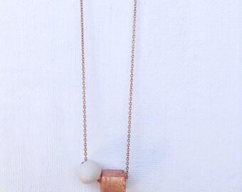 Square copper clay necklace