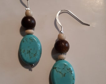 Turquoise and Wooden Bead Drop Earrings