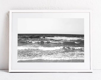 Ocean Print Beach Print, Minimalist Black and White Photo Print Landscape Print Ocean Waves Printable Art Print DIGITAL DOWNLOAD Photography