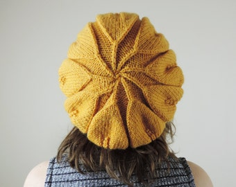 Womens Hand Knit Beanie, Yellow Leaf Beanie, Knitted Cap, Yellow Beret, Knit Beanie for Women,