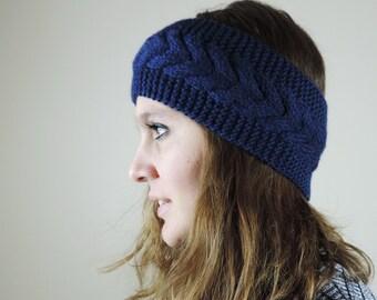 Navy Blue Knit Headband, Cable Knit Headband, Ear Warmer, Winter Hairband, Navy Blue Knitted Headband, Chunky Headband