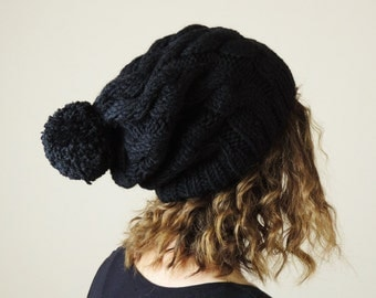 Black (or Choose Color) Hand Knitted Beanie, Slouchy Beanie, Cable Knit Hat, Pom Pom Beanie, Mens Wool Hat, Womens Cabled Beanie
