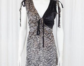 Amazing vintage 90's grunge velvet tiger tiki mini dress 8 10
