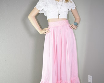 VINTAGE 70s PINK TIERED Pairie Hippie Boho Maxi Long Skirt Small