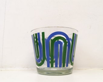 Vintage 1970s Colony Ice Bucket Blue and Green Arches Rainbow Glass Snack Bowl Art Deco Mod Mid-Century Pop Art