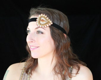 SALE! Gold/Silver Heart Velvet Headband - Sparkly Flapper Headband - Festival Wear/Holiday Party/Flapper/Girl's Night Out/Bollywood