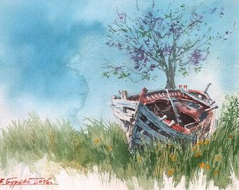 Mount Athos Hilandar Serbian Monastery Old Boat With Lilac Tree (Print)