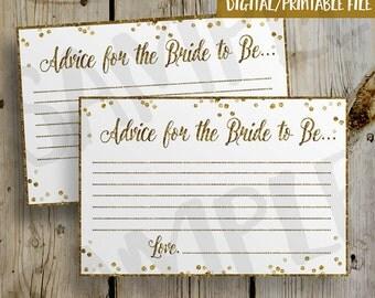 PRINTABLE Gold Glitter Confetti Bridal Shower Advice Card -  DIY Instant Download Advice Card Digital File Shower Invitation Enclosure