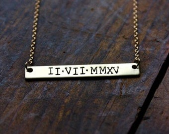 Roman Numerals Necklace / Personalized Gold Bar / Gold Roman Numerals / Minimalist Necklace / Gold Toned Brass / Simple Everyday Necklace