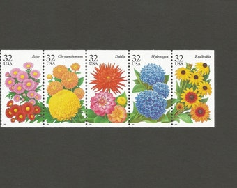 5 Garden Flowers 32 Cent Vintage Postage Stamps, Unused # 2993-2997