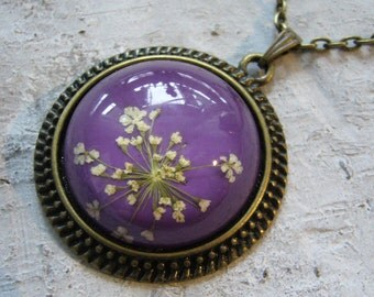 real purple dill flowers necklace - cabochon necklace