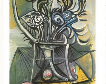 """Pablo Picasso Vintage Full Color Book Plate Entitled """"Bouquet""""  c.1969 Abstract Painting From 1983 Book of Picasso Last Years"""