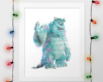 DISNEY SULLEY, Sulley Print, Monsters Inc Print, Sulley Sullivan, Sulley Poster, Sulley Watercolor, Disney Nursery, Wall Art, Digital Print