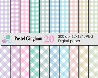 SALE 50% Pastel Gingham Digital Paper Set, Pastel Plaid Digital Scrapbook Papers, Instant Digital Download