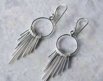 Sterling silver minimal ethnic earrings, Silver native earrings, Boho earrings, Silver tribal earrings, Silver jewellery, Minimal earrings