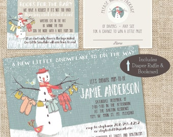 Baby Shower Invite, diaper raffle, and bookcard combo
