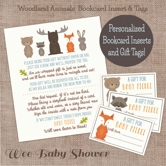 woodland animal baby shower personalized book card and gift tags