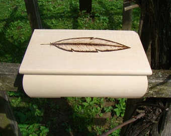 SALE made to order wooden box personalized box pyrography wood burned box ecologic box feather