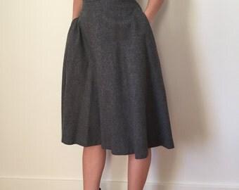 Vintage Grey Wool Skirt
