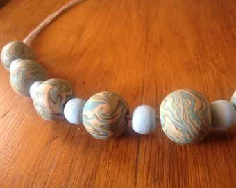 Marble Clay Beaded Necklace