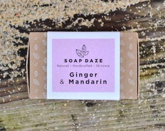 Handmade Mandarin & Ginger Soap, natural soap, large soap, vegan soap