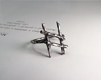 HAGALAZ  rune ring - A rune ring to embrace challenges occurring in your life. silver sterling runes.