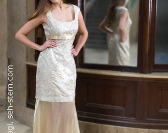 Evening Dress, pale gold coloured, from the knee transparent