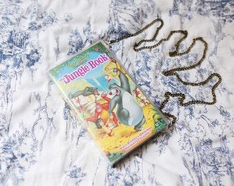 The Jungle Book handbag, upcycled VHS video case shoulder bag, clutch, retro