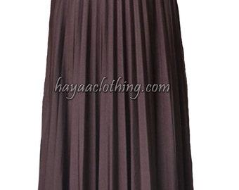 BROWN Flare Jersey Pleated Maxi Skirt | Modest Long Skirt | Islamic Clothing S M L XL 2XL 3XL 4XL