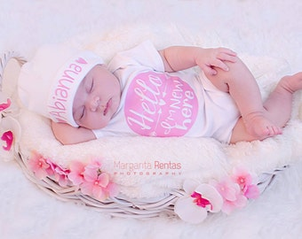 Newborn Girl Name Hat...newborn baby hat...pink hearts newborn hat...new baby hat...baby girl hat...take home hat...newborn photo prop hat