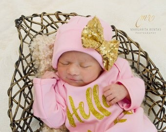 Gold Bow Pink Newborn Girl hat...newborn baby hat...pink newborn hat...new baby hat...baby girl hat...take home hat...newborn photo prop hat