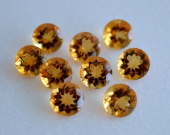 Citrine 9 MM Faceted Round, Golden Yellow Color, Fine Quality. Designer Gems. Sold per piece.