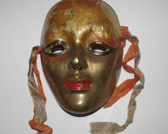 SOLID BRASS MASK Wall Hanging Mardi Gras - T662