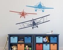 Biplane Monoplane Wall Decal- 3 Airplanes Wall Decal- Wall Decals Nursery Boy- Boy