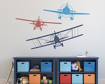 Merveilleux Biplane Monoplane Wall Decal  3 Airplanes Wall Decal  Wall Decals Nursery  Boy  Boy