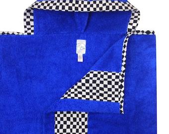 Checker Flag Hooded Towel Black White Blue