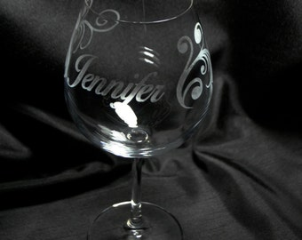 Set of 2 Personalized Etched Wine Glasses