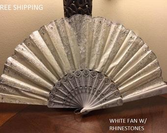 Spanish Wedding Hand Fan For Bride Folding Fan Victorian Wedding Fan Vintage French Silk Look Antique Collectible Gift For Best Friend