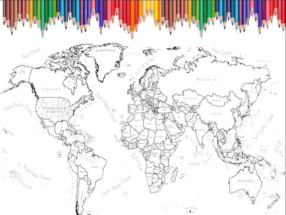 World Map Coloring Page Printable World Map Scrapbook Size 12x12 World Map Coloring Page