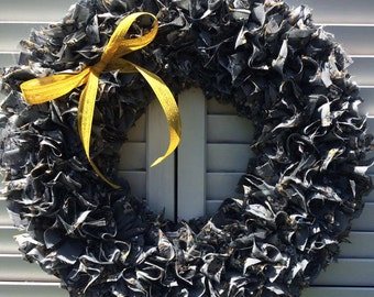 Grey and yellow floral rag wreath