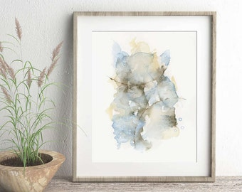 Abstract art print of original watercolor painting, modern minimalist home decor wall art, indigo grey taupe sepia, 5x7 8x10 11x14