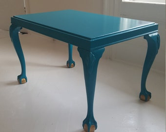 Sold**Turquoise Coffee Table, Vintage Hand Painted Table, Fresh Turquoise