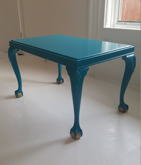soldturquoise coffee table vintage hand painted table