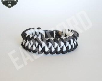 EASYCORD NEW 2016 Paracord Bracelet Black and White CUSTOM