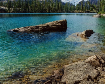 Mountain Lake Photo, Idaho Landscape Photography, Nature Photography, Fine Art Landscape Photo, Blue Water, Trees, Vacation Home, Sawtooth