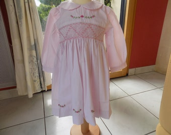 Dress of flowers, dress smocking, long sleeves, collar Claudine, cotton, pink dress, girl, smocking, hand, hand-embroidered, clothing girl, 1 year, 2 years, 4 years, 8 years