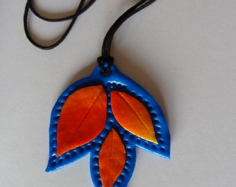 Autumn leaves polymer clay pendant