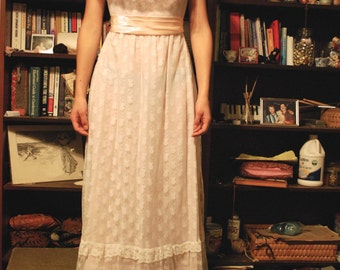 60's Vintage Pink and White Lace Maxi